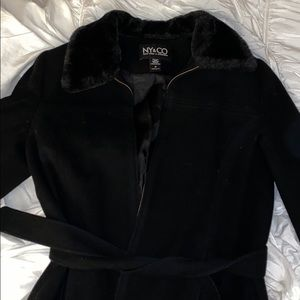 Black Ny&Co jacket! With fur collar and belt